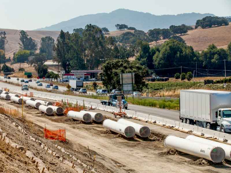 "CalTrans 'Narrows Project"": new 42"" pipes replaced 30"" pipeline to move water from Petaluma to Novato."