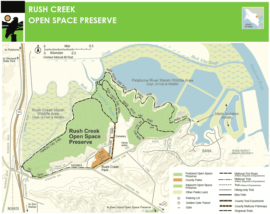 Rush Creek Open Space Preserve and Bahia in Novato (click to enlarge)