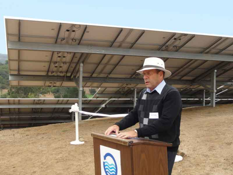 Dedication ceremony for completion of installation of solar panels to power Stafford Lake Treatment Plant.